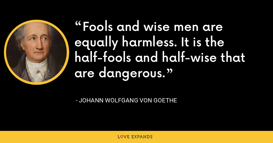 Fools and wise men are equally harmless. It is the half-fools and half-wise that are dangerous. - Johann Wolfgang von Goethe