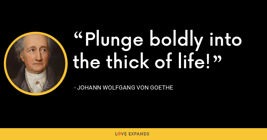 Plunge boldly into the thick of life! - Johann Wolfgang von Goethe