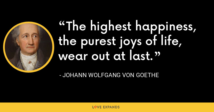 The highest happiness, the purest joys of life, wear out at last. - Johann Wolfgang von Goethe