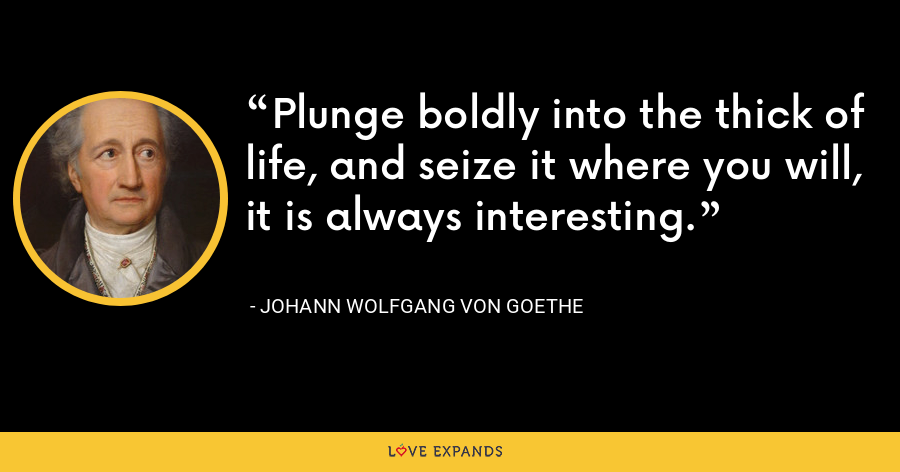 Plunge boldly into the thick of life, and seize it where you will, it is always interesting. - Johann Wolfgang von Goethe