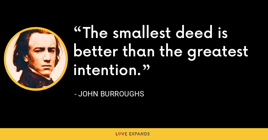 The smallest deed is better than the greatest intention. - John Burroughs