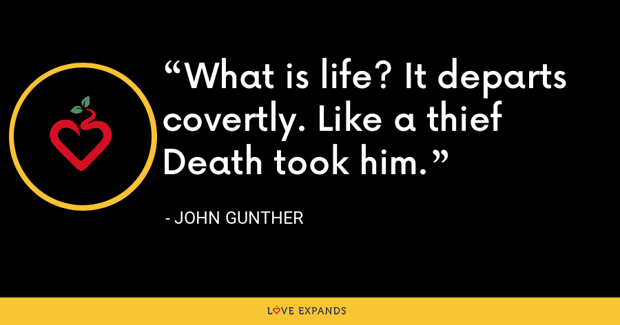 What is life? It departs covertly. Like a thief Death took him. - John Gunther