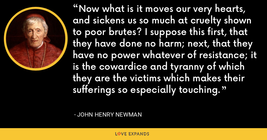 Now what is it moves our very hearts, and sickens us so much at cruelty shown to poor brutes? I suppose this first, that they have done no harm; next, that they have no power whatever of resistance; it is the cowardice and tyranny of which they are the victims which makes their sufferings so especially touching. - John Henry Newman
