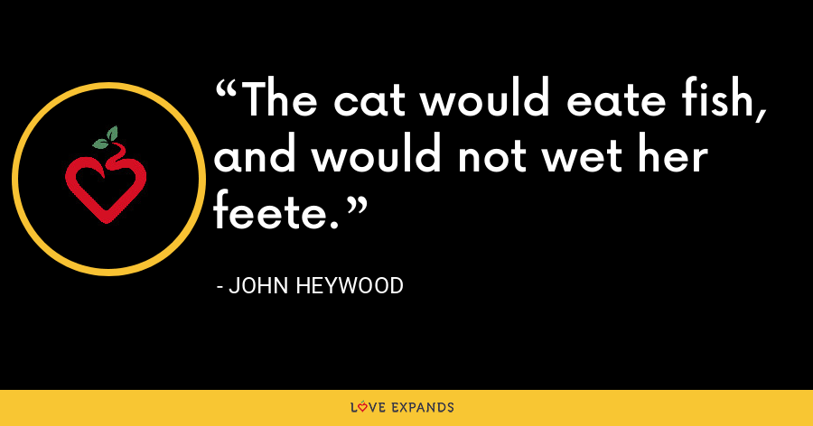 The cat would eate fish, and would not wet her feete. - John Heywood