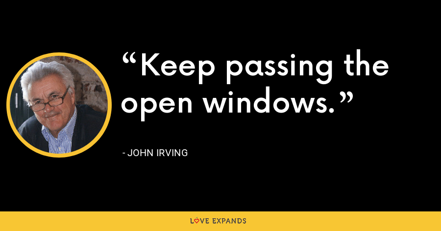 Keep passing the open windows. - John Irving