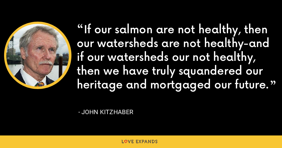If our salmon are not healthy, then our watersheds are not healthy-and if our watersheds our not healthy, then we have truly squandered our heritage and mortgaged our future. - John Kitzhaber