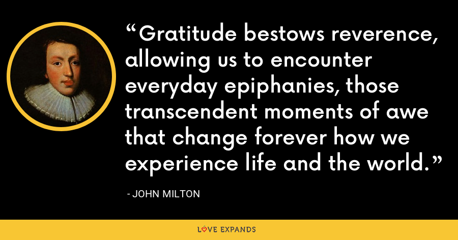 Gratitude bestows reverence, allowing us to encounter everyday epiphanies, those transcendent moments of awe that change forever how we experience life and the world. - John Milton