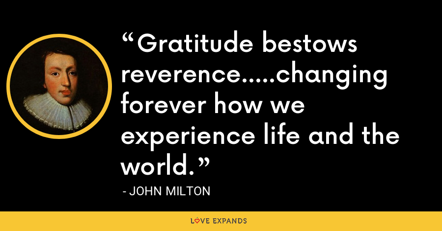 Gratitude bestows reverence.....changing forever how we experience life and the world. - John Milton