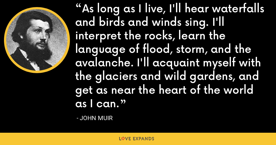 As long as I live, I'll hear waterfalls and birds and winds sing. I'll interpret the rocks, learn the language of flood, storm, and the avalanche. I'll acquaint myself with the glaciers and wild gardens, and get as near the heart of the world as I can. - John Muir