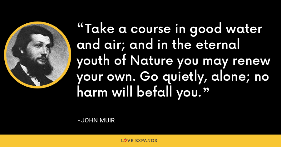 Take a course in good water and air; and in the eternal youth of Nature you may renew your own. Go quietly, alone; no harm will befall you. - John Muir