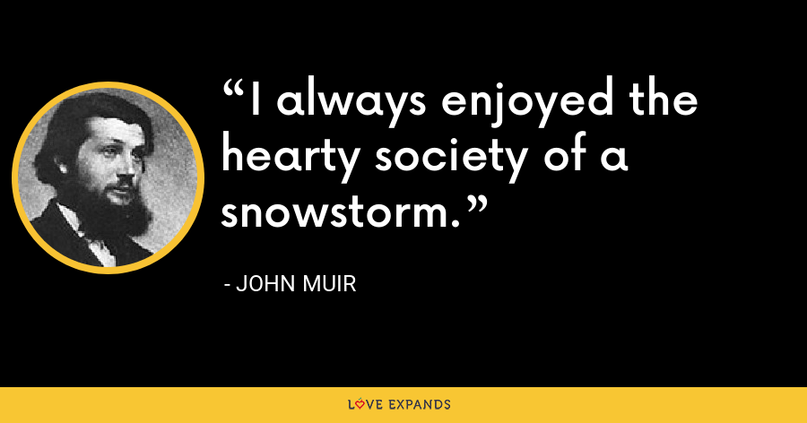 I always enjoyed the hearty society of a snowstorm. - John Muir