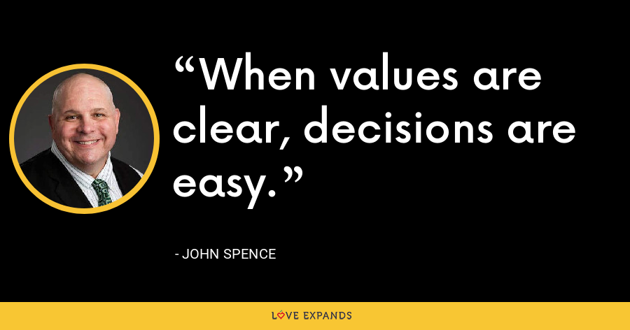 When values are clear, decisions are easy. - John Spence