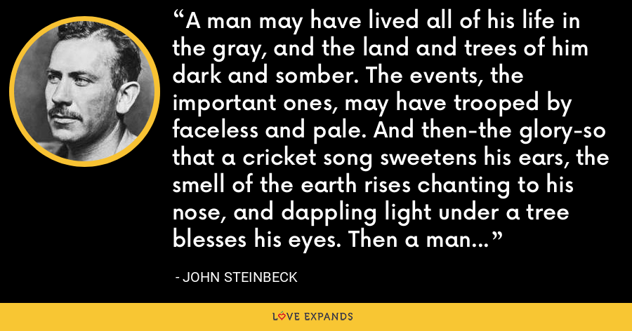 A man may have lived all of his life in the gray, and the land and trees of him dark and somber. The events, the important ones, may have trooped by faceless and pale. And then-the glory-so that a cricket song sweetens his ears, the smell of the earth rises chanting to his nose, and dappling light under a tree blesses his eyes. Then a man pours outward, a torrent of him, and yet he is not diminished. - John Steinbeck