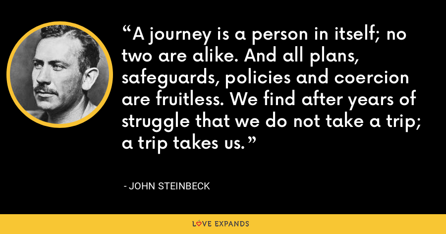 A journey is a person in itself; no two are alike. And all plans, safeguards, policies and coercion are fruitless. We find after years of struggle that we do not take a trip; a trip takes us. - John Steinbeck