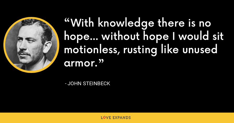 With knowledge there is no hope... without hope I would sit motionless, rusting like unused armor. - John Steinbeck