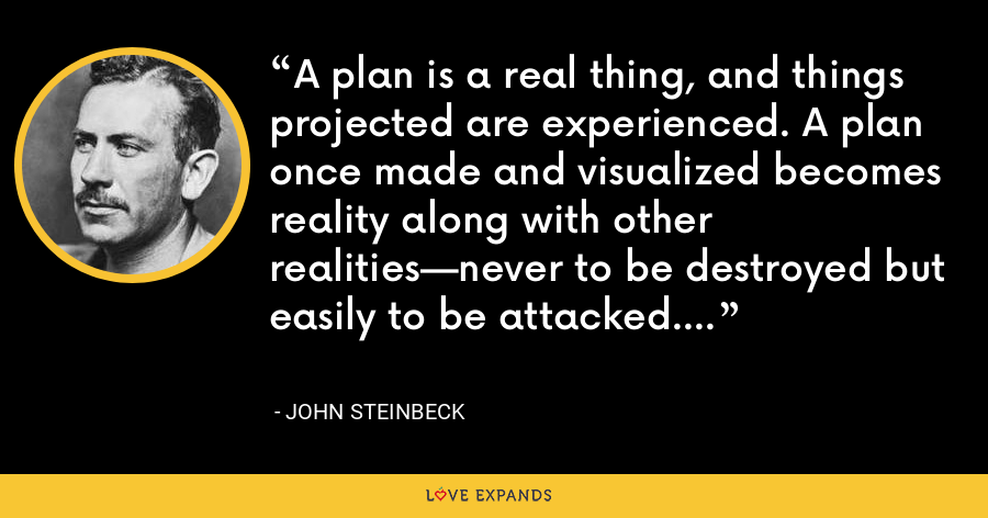 A plan is a real thing, and things projected are experienced. A plan once made and visualized becomes reality along with other realities—never to be destroyed but easily to be attacked. - John Steinbeck