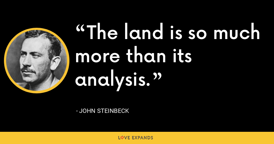 The land is so much more than its analysis. - John Steinbeck