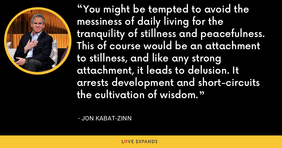 You might be tempted to avoid the messiness of daily living for the tranquility of stillness and peacefulness. This of course would be an attachment to stillness, and like any strong attachment, it leads to delusion. It arrests development and short-circuits the cultivation of wisdom. - Jon Kabat-Zinn
