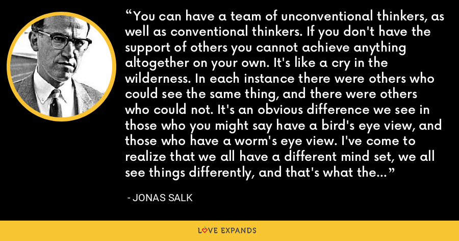 You can have a team of unconventional thinkers, as well as conventional thinkers. If you don't have the support of others you cannot achieve anything altogether on your own. It's like a cry in the wilderness. In each instance there were others who could see the same thing, and there were others who could not. It's an obvious difference we see in those who you might say have a bird's eye view, and those who have a worm's eye view. I've come to realize that we all have a different mind set, we all see things differently, and that's what the human condition is really all about. - Jonas Salk