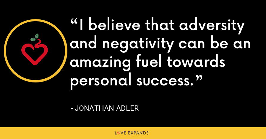 I believe that adversity and negativity can be an amazing fuel towards personal success. - Jonathan Adler