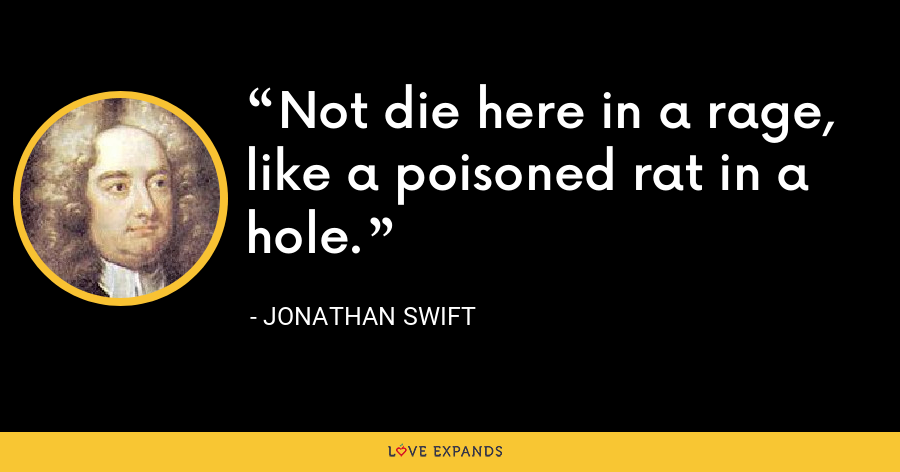 Not die here in a rage, like a poisoned rat in a hole. - Jonathan Swift