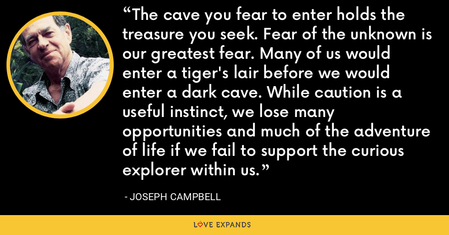The cave you fear to enter holds the treasure you seek. Fear of the unknown is our greatest fear. Many of us would enter a tiger's lair before we would enter a dark cave. While caution is a useful instinct, we lose many opportunities and much of the adventure of life if we fail to support the curious explorer within us. - Joseph Campbell
