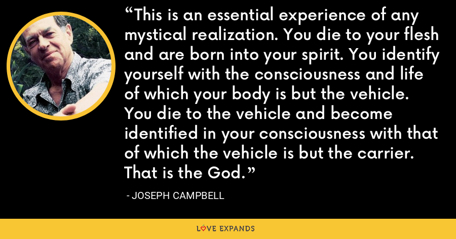 This is an essential experience of any mystical realization. You die to your flesh and are born into your spirit. You identify yourself with the consciousness and life of which your body is but the vehicle. You die to the vehicle and become identified in your consciousness with that of which the vehicle is but the carrier. That is the God. - Joseph Campbell
