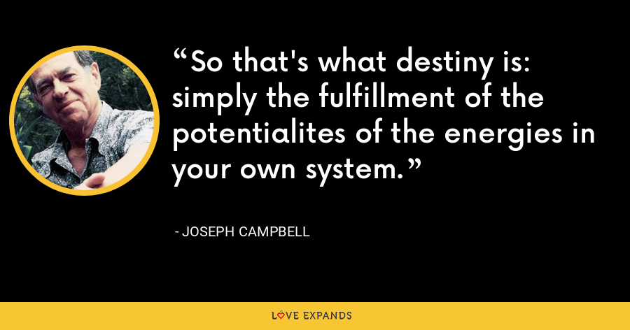 So that's what destiny is: simply the fulfillment of the potentialites of the energies in your own system. - Joseph Campbell