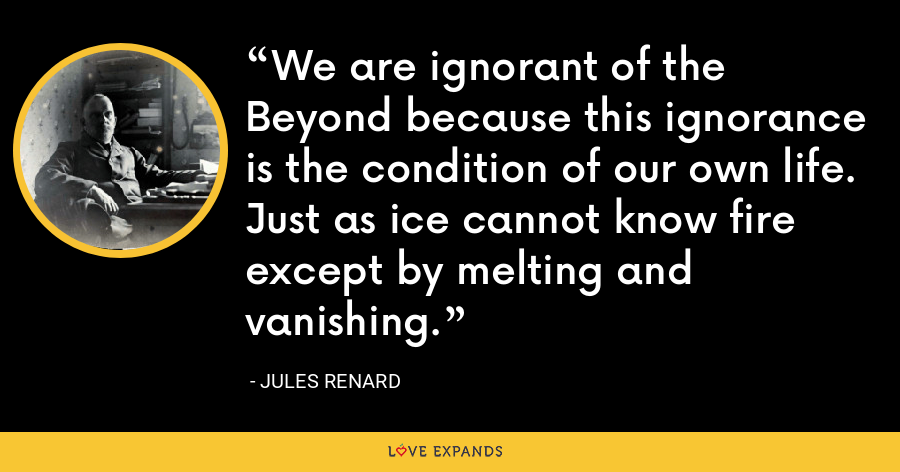 We are ignorant of the Beyond because this ignorance is the condition of our own life. Just as ice cannot know fire except by melting and vanishing. - Jules Renard