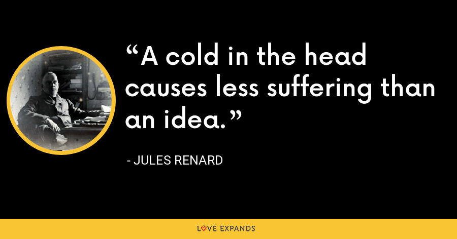 A cold in the head causes less suffering than an idea. - Jules Renard