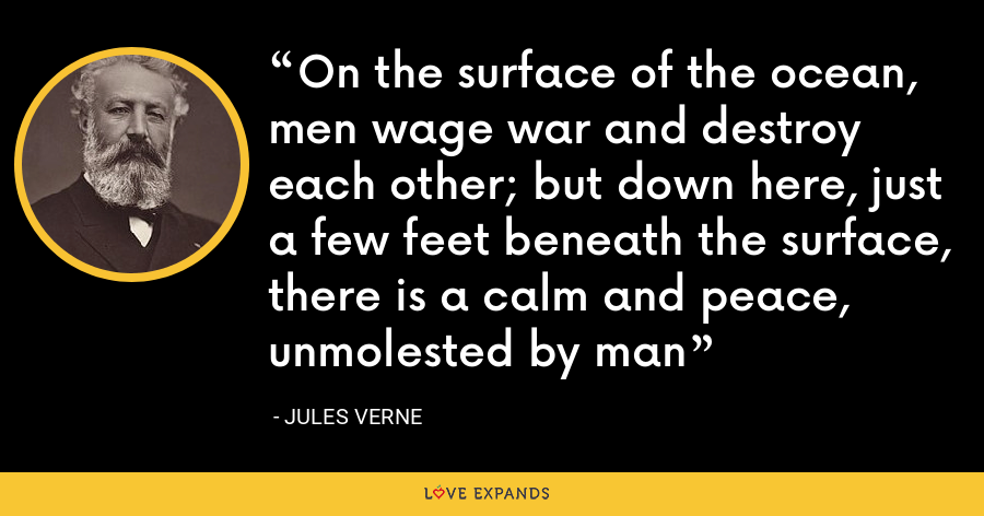 On the surface of the ocean, men wage war and destroy each other; but down here, just a few feet beneath the surface, there is a calm and peace, unmolested by man - Jules Verne