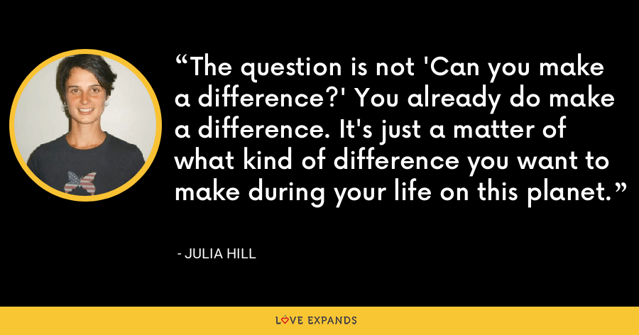 The question is not 'Can you make a difference?' You already do make a difference. It's just a matter of what kind of difference you want to make during your life on this planet. - Julia Hill