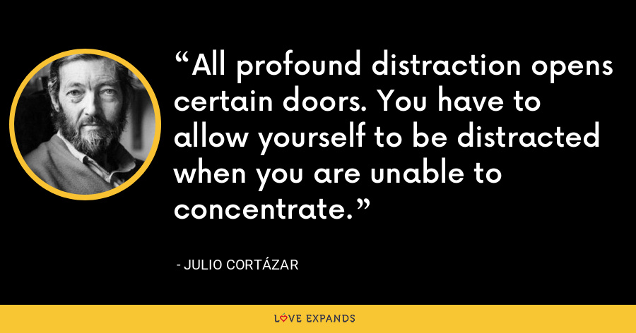 All profound distraction opens certain doors. You have to allow yourself to be distracted when you are unable to concentrate. - Julio Cortázar