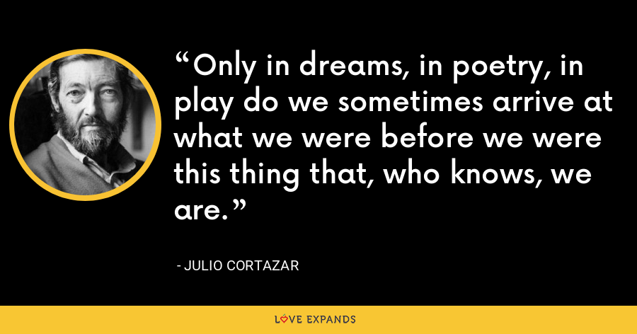 Only in dreams, in poetry, in play do we sometimes arrive at what we were before we were this thing that, who knows, we are. - Julio Cortazar
