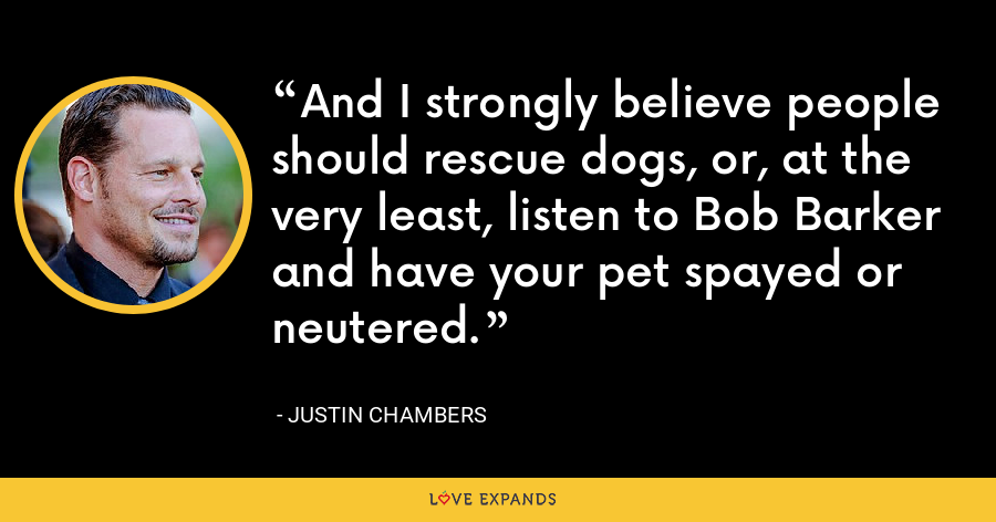 And I strongly believe people should rescue dogs, or, at the very least, listen to Bob Barker and have your pet spayed or neutered. - Justin Chambers