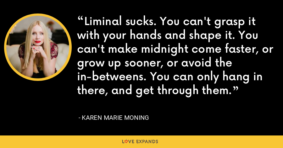 Liminal sucks. You can't grasp it with your hands and shape it. You can't make midnight come faster, or grow up sooner, or avoid the in-betweens. You can only hang in there, and get through them. - Karen Marie Moning