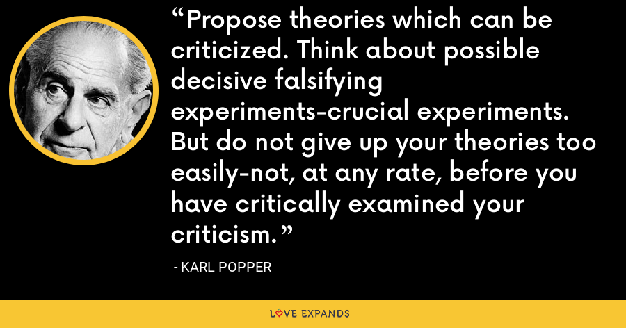 Propose theories which can be criticized. Think about possible decisive falsifying experiments-crucial experiments. But do not give up your theories too easily-not, at any rate, before you have critically examined your criticism. - Karl Popper