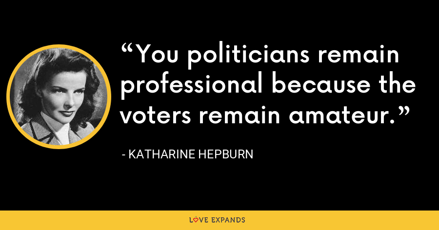 You politicians remain professional because the voters remain amateur. - Katharine Hepburn