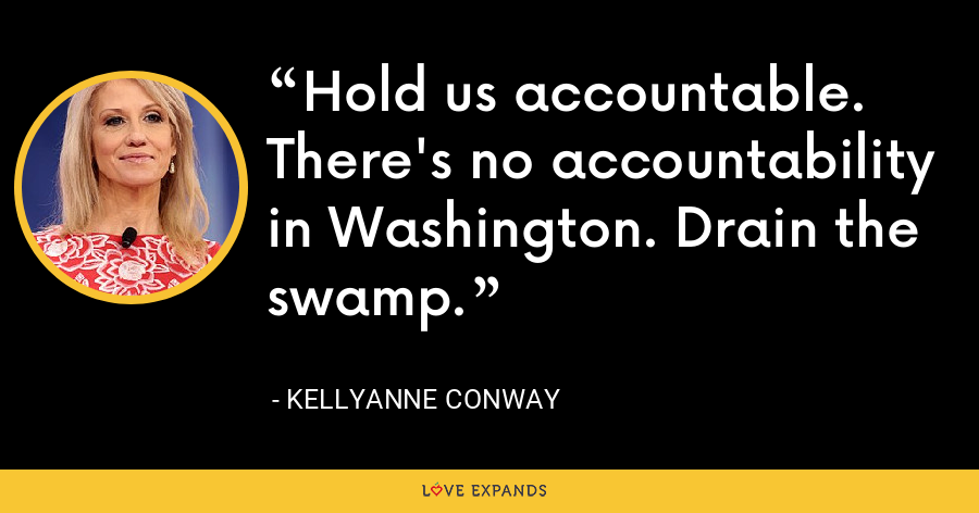 Hold us accountable. There's no accountability in Washington. Drain the swamp. - Kellyanne Conway