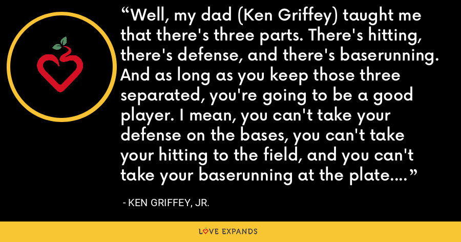 Well, my dad (Ken Griffey) taught me that there's three parts. There's hitting, there's defense, and there's baserunning. And as long as you keep those three separated, you're going to be a good player. I mean, you can't take your defense on the bases, you can't take your hitting to the field, and you can't take your baserunning at the plate. But defense, is number one. - Ken Griffey, Jr.