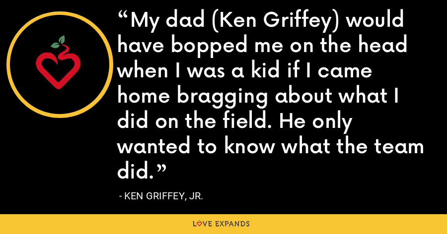 My dad (Ken Griffey) would have bopped me on the head when I was a kid if I came home bragging about what I did on the field. He only wanted to know what the team did. - Ken Griffey, Jr.