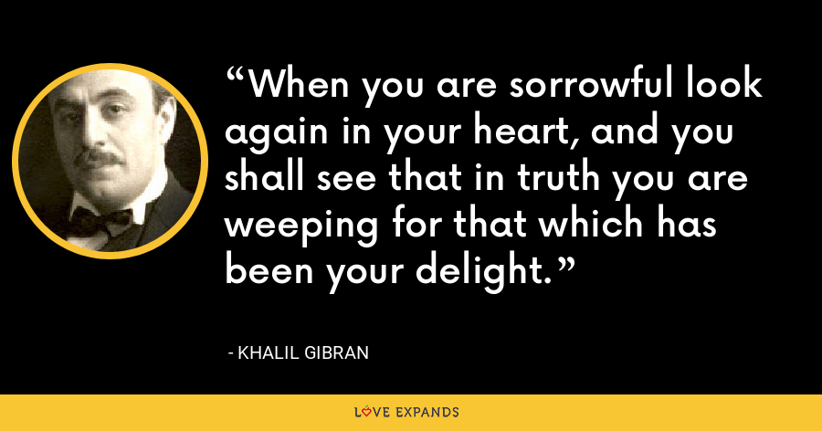 When you are sorrowful look again in your heart, and you shall see that in truth you are weeping for that which has been your delight. - Khalil Gibran