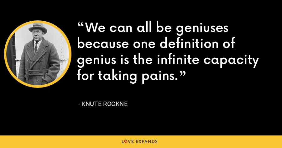 We can all be geniuses because one definition of genius is the infinite capacity for taking pains. - Knute Rockne