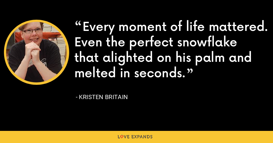 Every moment of life mattered. Even the perfect snowflake that alighted on his palm and melted in seconds. - Kristen Britain