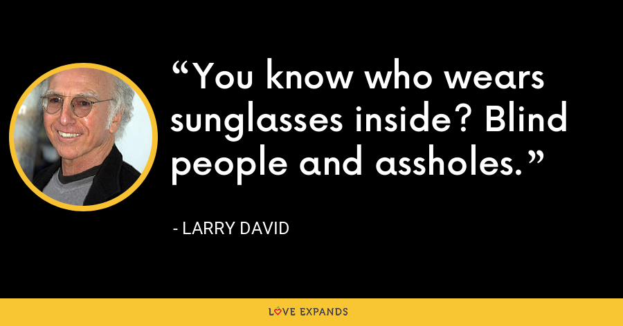 You know who wears sunglasses inside? Blind people and assholes. - Larry David