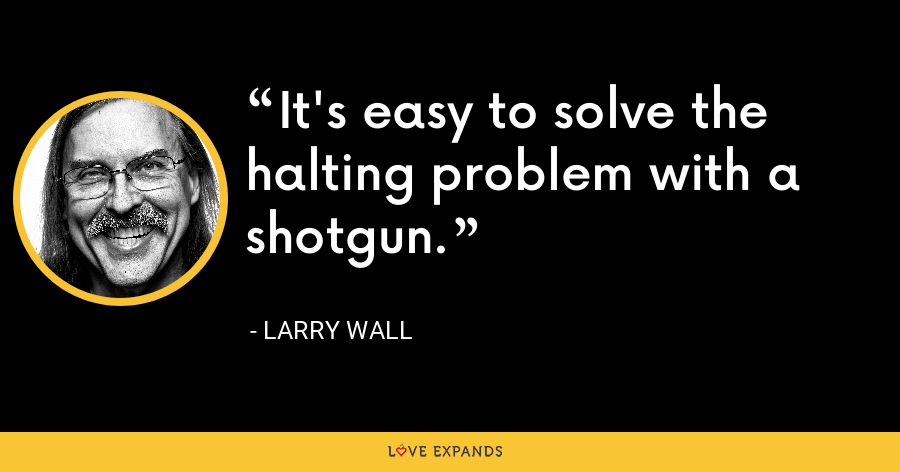 It's easy to solve the halting problem with a shotgun. - Larry Wall