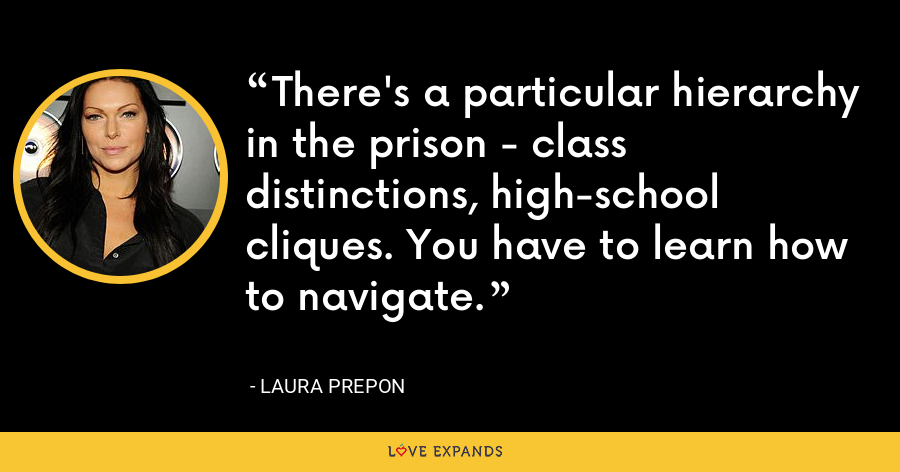 There's a particular hierarchy in the prison - class distinctions, high-school cliques. You have to learn how to navigate. - Laura Prepon