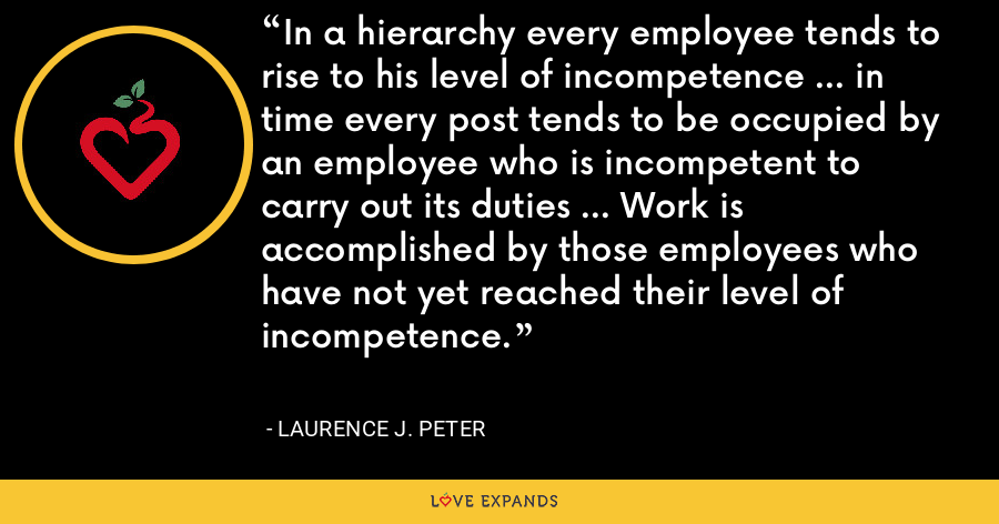 In a hierarchy every employee tends to rise to his level of incompetence ... in time every post tends to be occupied by an employee who is incompetent to carry out its duties ... Work is accomplished by those employees who have not yet reached their level of incompetence. - Laurence J. Peter