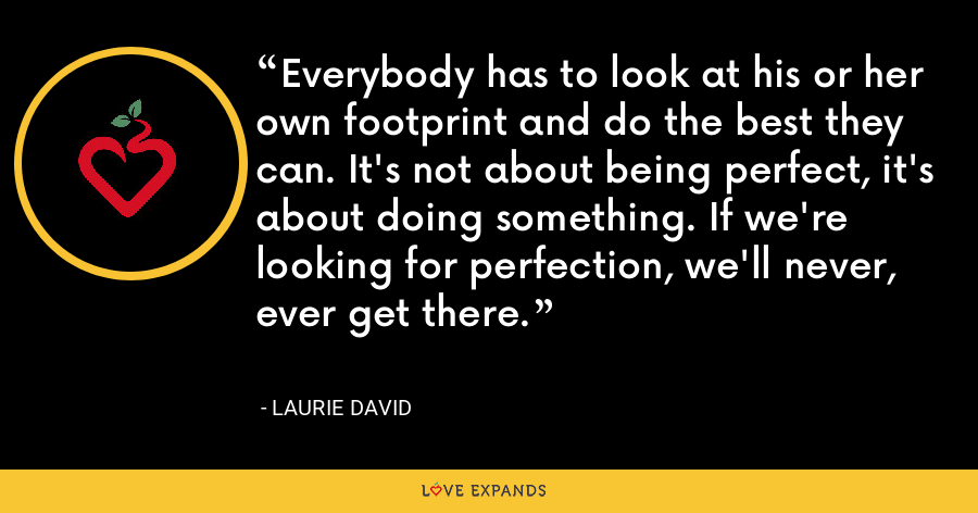 Everybody has to look at his or her own footprint and do the best they can. It's not about being perfect, it's about doing something. If we're looking for perfection, we'll never, ever get there. - Laurie David