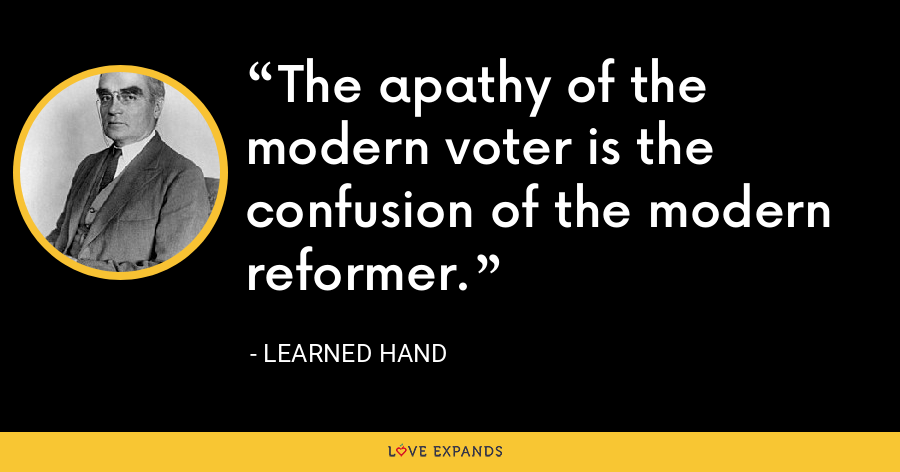 The apathy of the modern voter is the confusion of the modern reformer. - Learned Hand